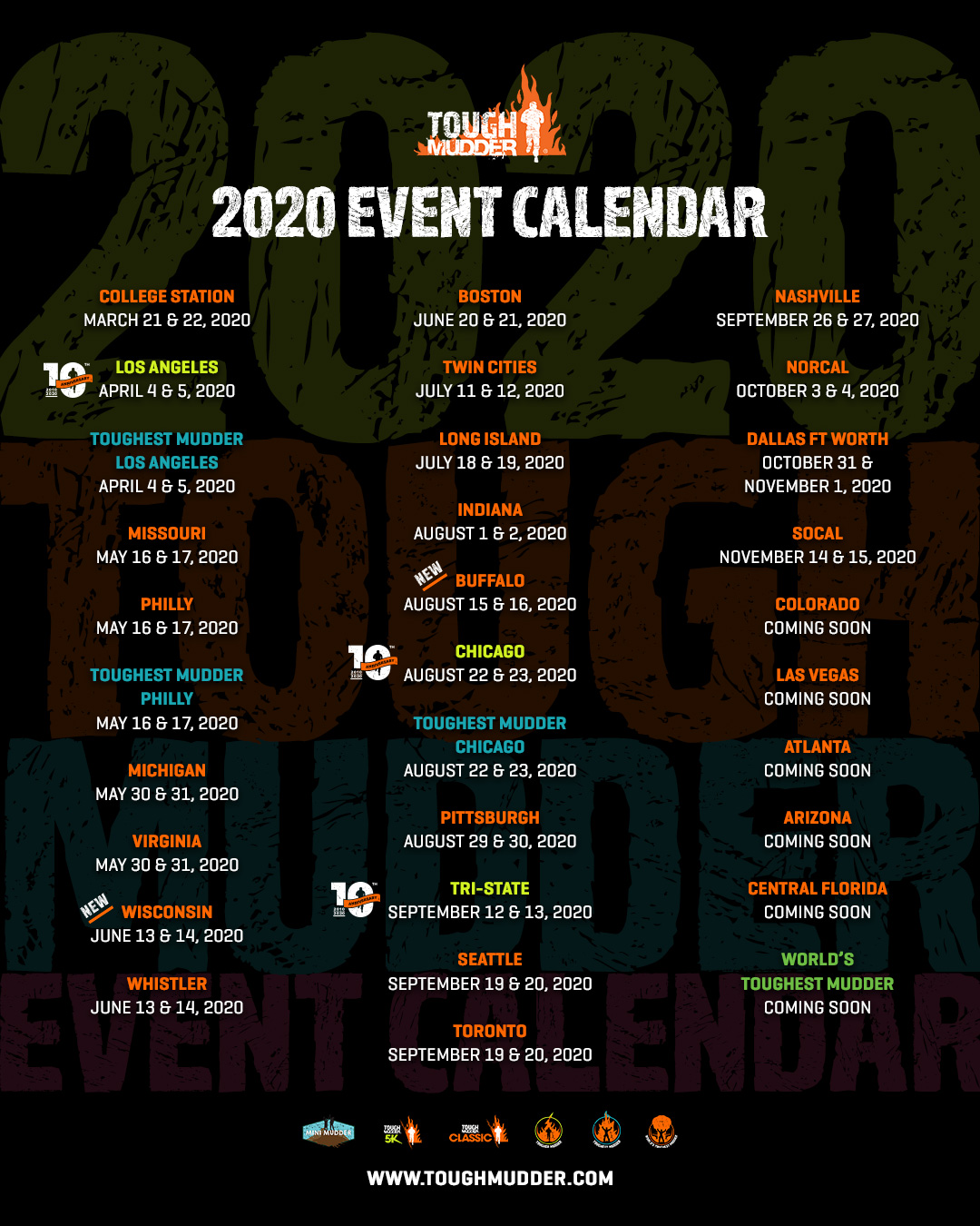 Tough Mudder 2020 Events.2020 Mudder Passes Tough Mudder
